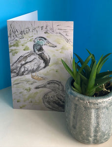 Two little ducks Greetings Card