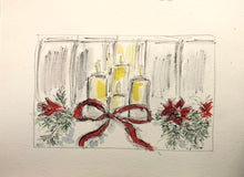 Load image into Gallery viewer, Christmas Candles with Bow Original Watercolour framed
