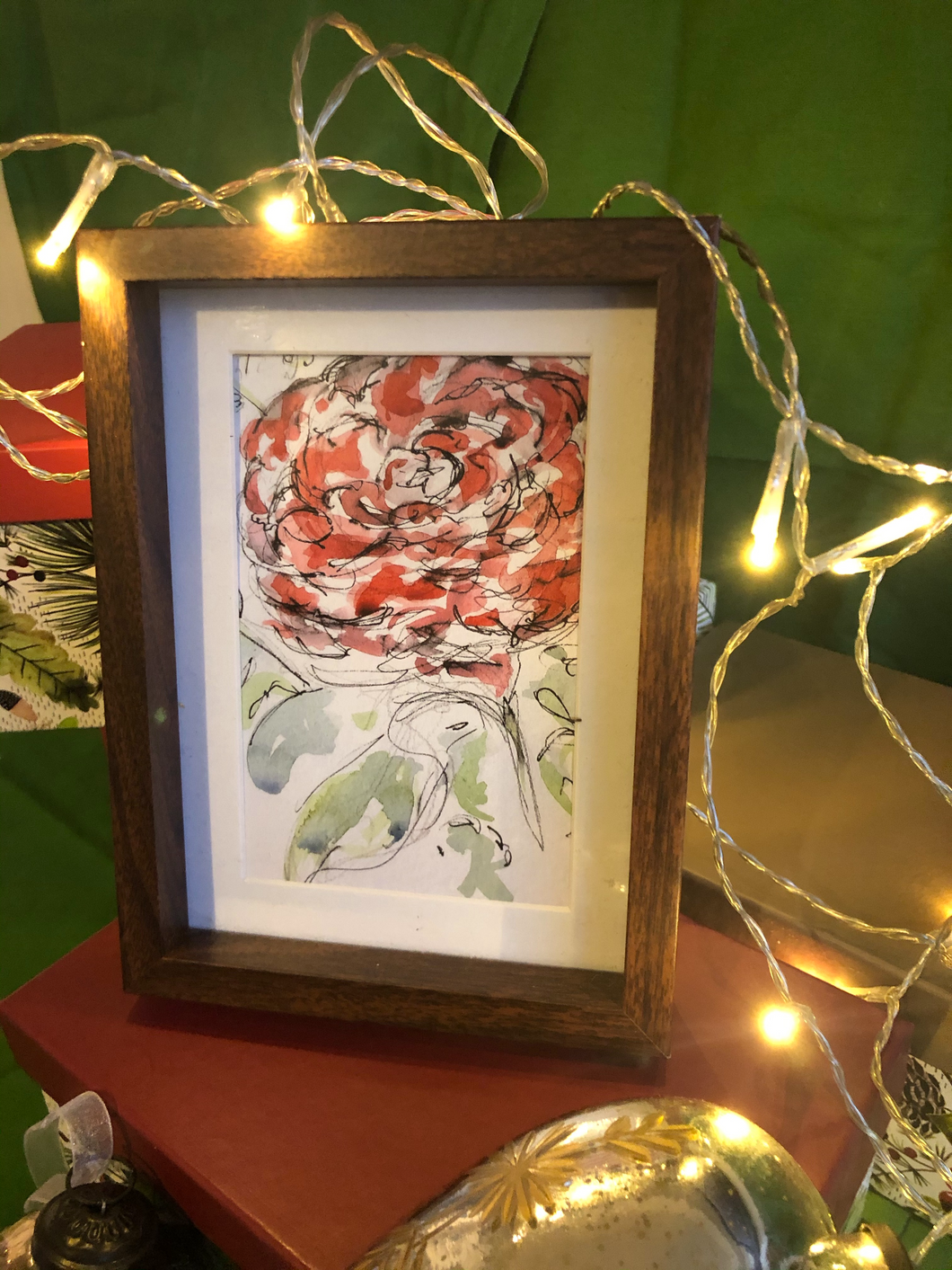Single Rose Bloom - Framed Postcard
