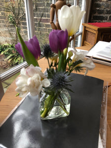 Tulips in a Square Jar