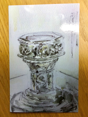 Font Great St Mary's Church, Postcard