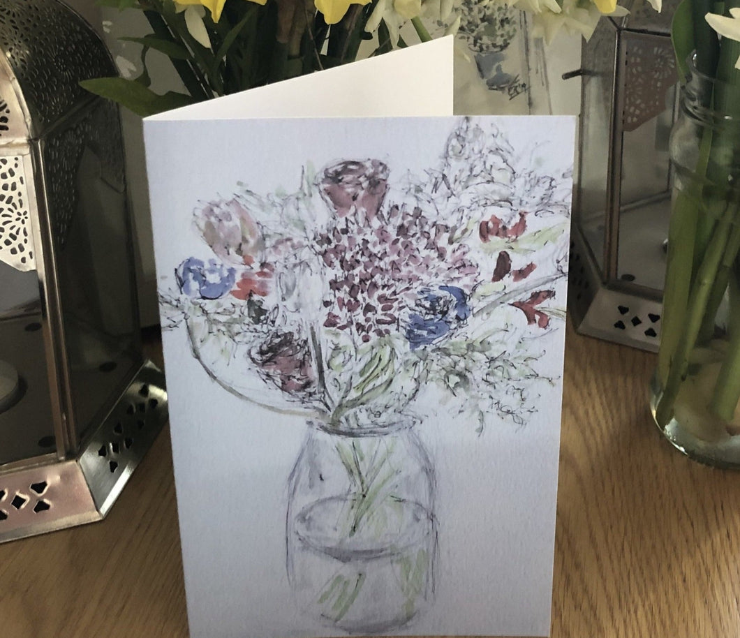 Flowers in a jam jar card