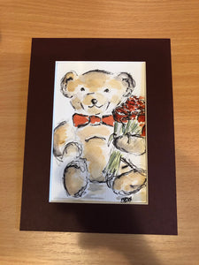 Teddy Bear with Roses watercolour