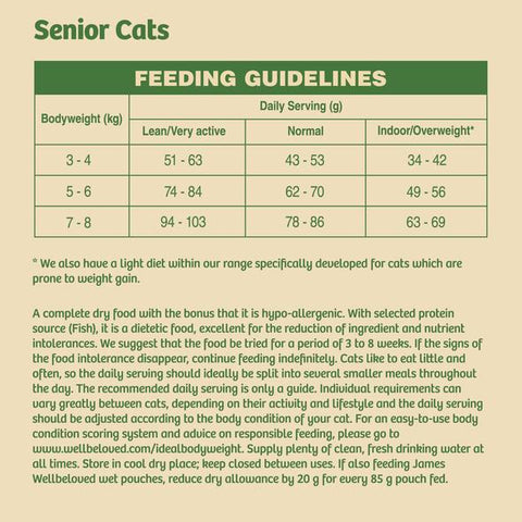 James Wellbeloved Senior Dry Cat Food - Fish Feeding Guide