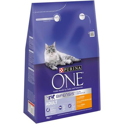 Purina One Adult Dry Cat Food - Chicken & Whole Grains - 3kg