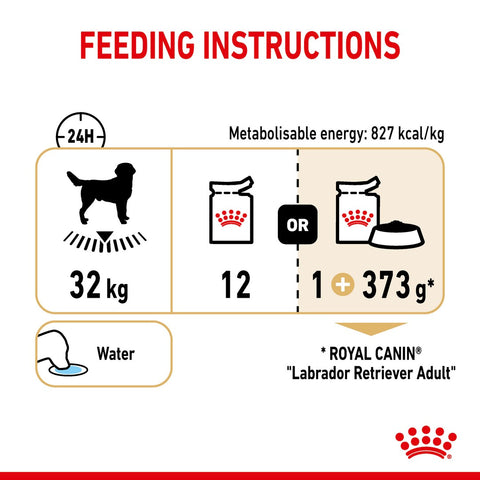 Royal Canin Labrador Retriever Adult In Gravy Wet Dog Food - Feeding Guidelines