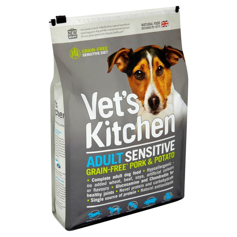 Vets Kitchen Grain Free Sensitive Dry Dog Food - Pork & Potato - 1.1kg / 2.2kg