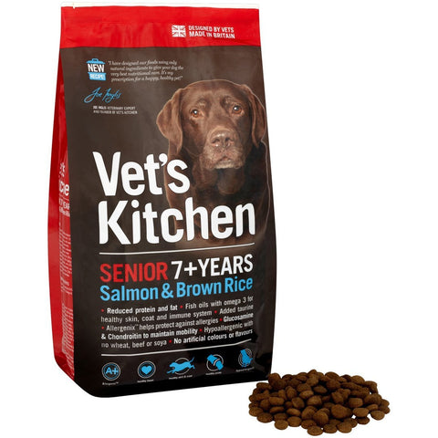 Vets Kitchen Senior 7+ Years Dry Dog Food - Salmon & Brown Rice - 3kg / 7.5kg