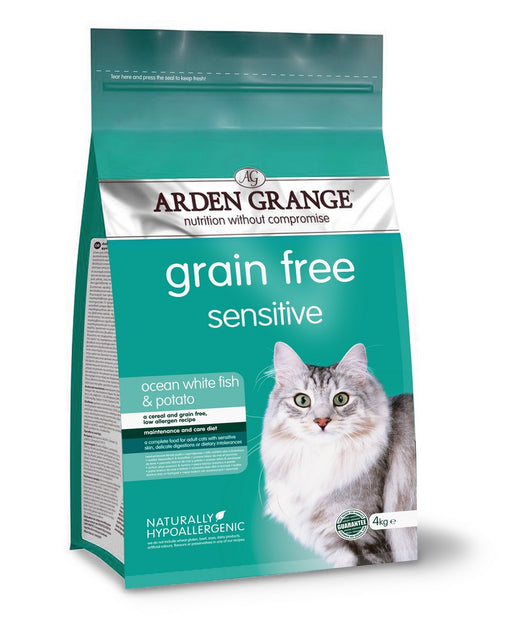 Arden Grange Grain Free Sensitive Adult Dry Cat Food - White Fish & Potato - 4kg - PetMonkey