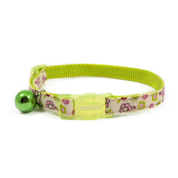 Ancol Flower Safety Cat Collar - Green / Pink - PetMonkey
