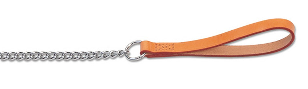 Ancol Leather Chain Dog Lead - Tan / Red / Black - PetMonkey