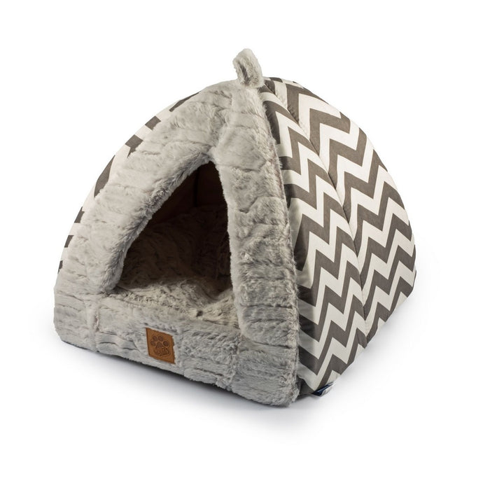 Ancol Plush Grey Pyramid Cat Bed - PetMonkey
