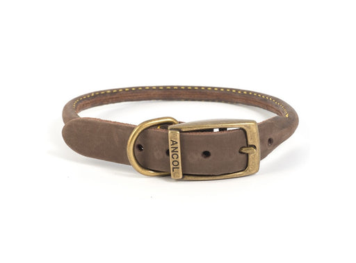 Ancol Timberwolf Leather Round Dog Collar - Sable / Blue - 6 Sizes - PetMonkey