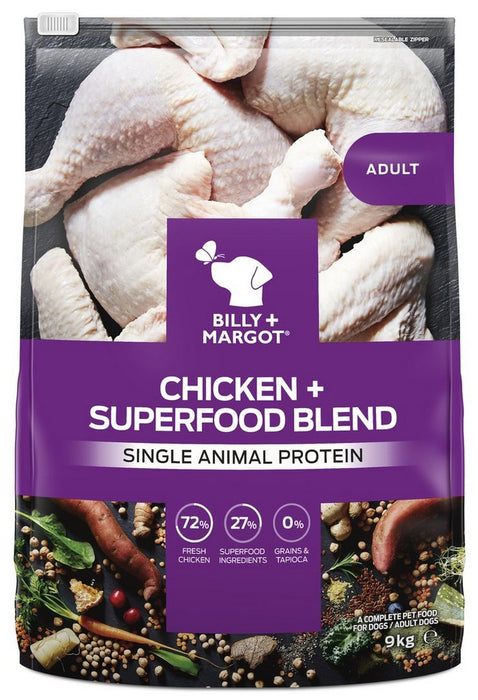 Billy & Margot Adult Dry Dog Food - Chicken & Superfood Blend - 9kg - PetMonkey