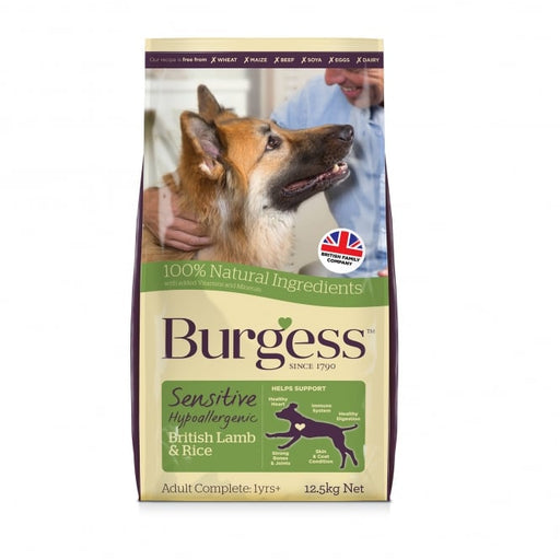 Burgess Sensitive Adult Dry Dog Food - Lamb & Rice - 12.5kg - PetMonkey