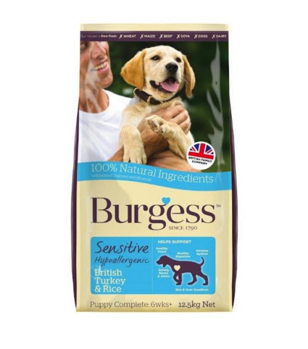 Burgess Sensitive Puppy Dry Dog Food - Turkey & Rice - 12.5kg - PetMonkey