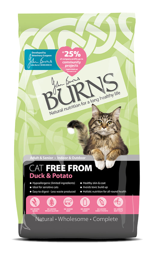Burns Free From Adult Dry Cat Food - Duck & Potato - 5kg - PetMonkey