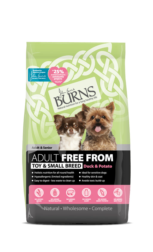 Burns Free From Adult Toy & Small Breed Dry Dog Food - Duck & Potato - 6kg - PetMonkey