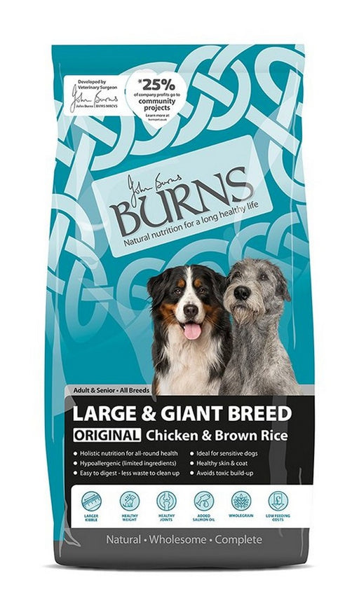 Burns Original Large & Giant Breed Adult Hypoallergenic Dry Dog Food - Chicken & Brown Rice - 12kg - PetMonkey