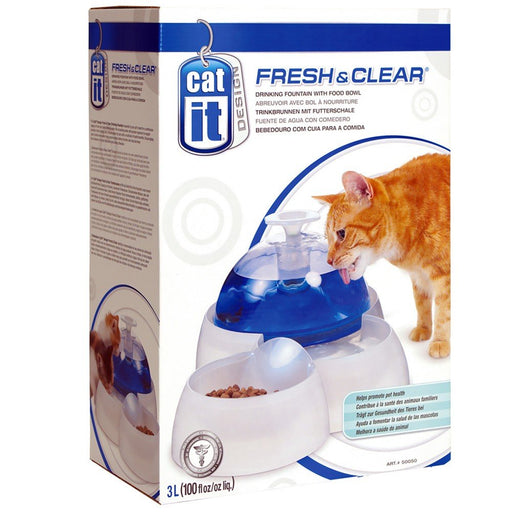 Catit Fresh & Clear Drinking Fountain with Food Bowl - PetMonkey