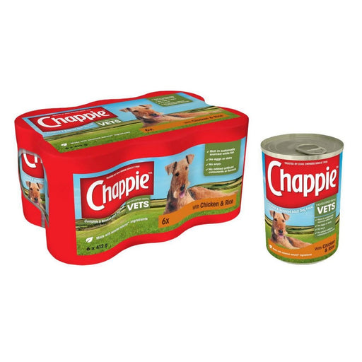 Chappie Wet Dog Food Tins - Chicken & Rice - 24 x 412g - PetMonkey
