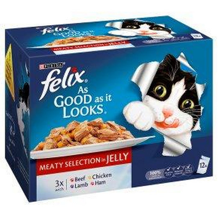 Felix As Good As It Looks Cat Food Pouches - Meat Selection - 48 x 100g - PetMonkey
