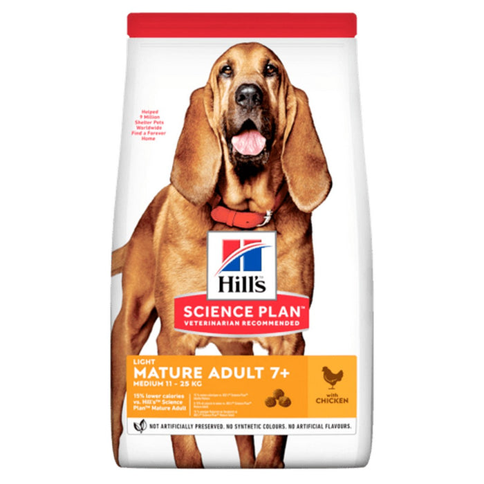 Hills Science Plan Light Medium Mature Adult Dry Dog Food - Chicken - 14kg - PetMonkey