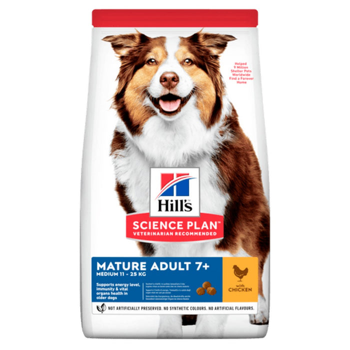 Hills Science Plan Medium Mature 7+ Adult Dry Dog Food - Chicken - 14kg - PetMonkey
