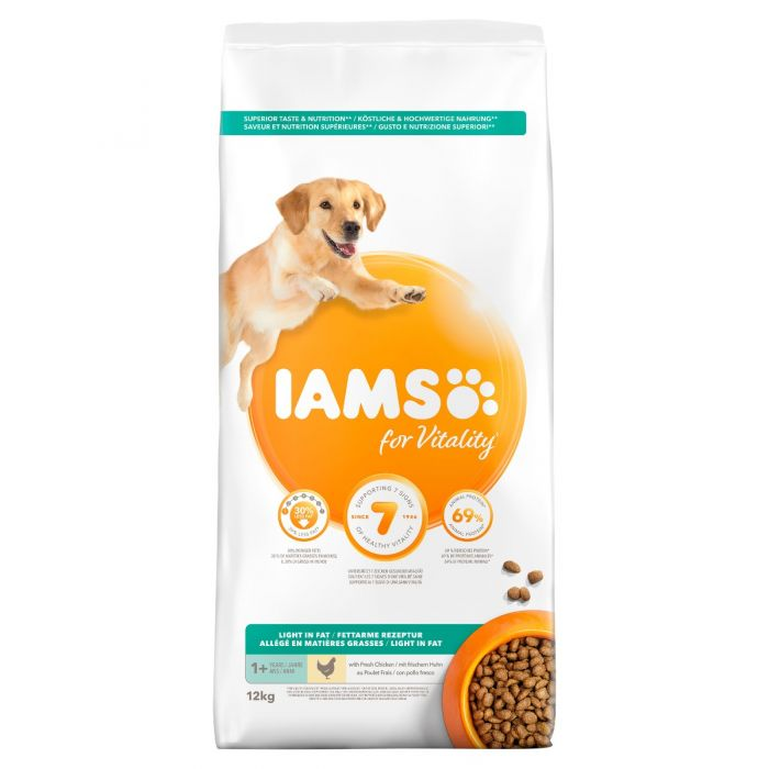 Iams For Vitality Light in Fat Adult Dry Dog Food - Chicken - 12kg - PetMonkey