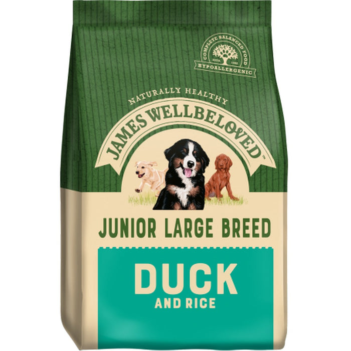 James Wellbeloved Junior Large Breed Dry Dog Food - Duck & Rice - 15kg - PetMonkey