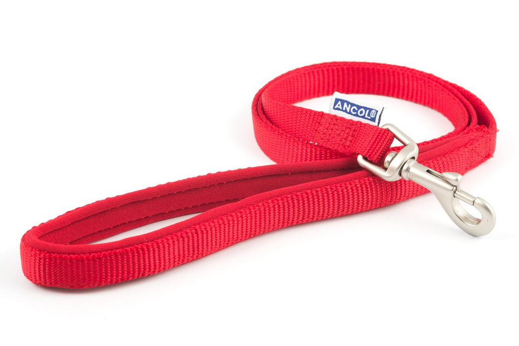Ancol Padded Nylon Dog Lead - Black / Red / Blue / Raspberry - PetMonkey