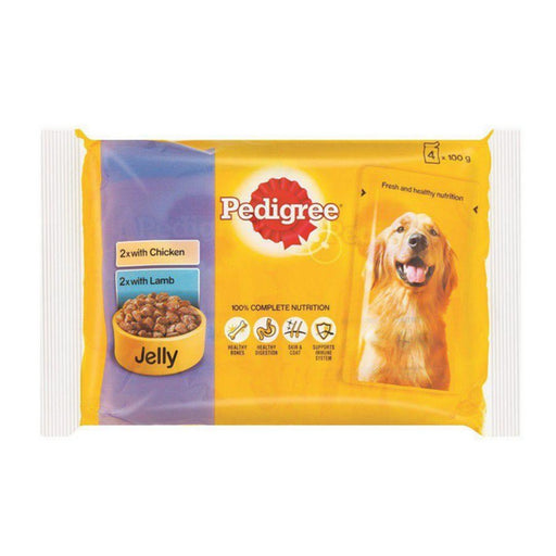 Pedigree Adult Wet Dog Food - Chicken & Lamb In Jelly - 52 x 100g - PetMonkey
