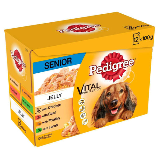 Pedigree Senior Wet Dog Food - Meat Selection In Jelly - 12 x 100g - PetMonkey