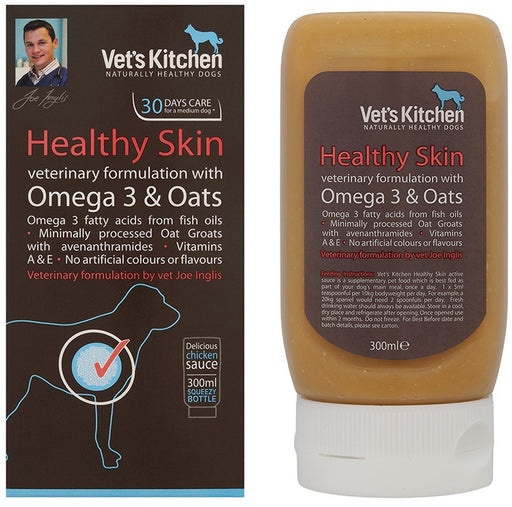 Vets Kitchen Healthy Skin Dog Supplement - Omega 3 & Oats - 300ml - PetMonkey
