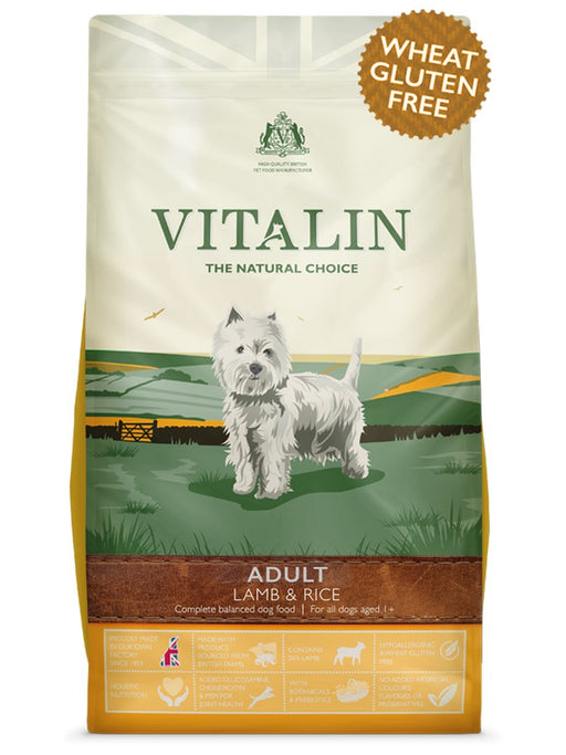 Vitalin Adult Dry Dog Food - Lamb & Rice - 12kg - PetMonkey