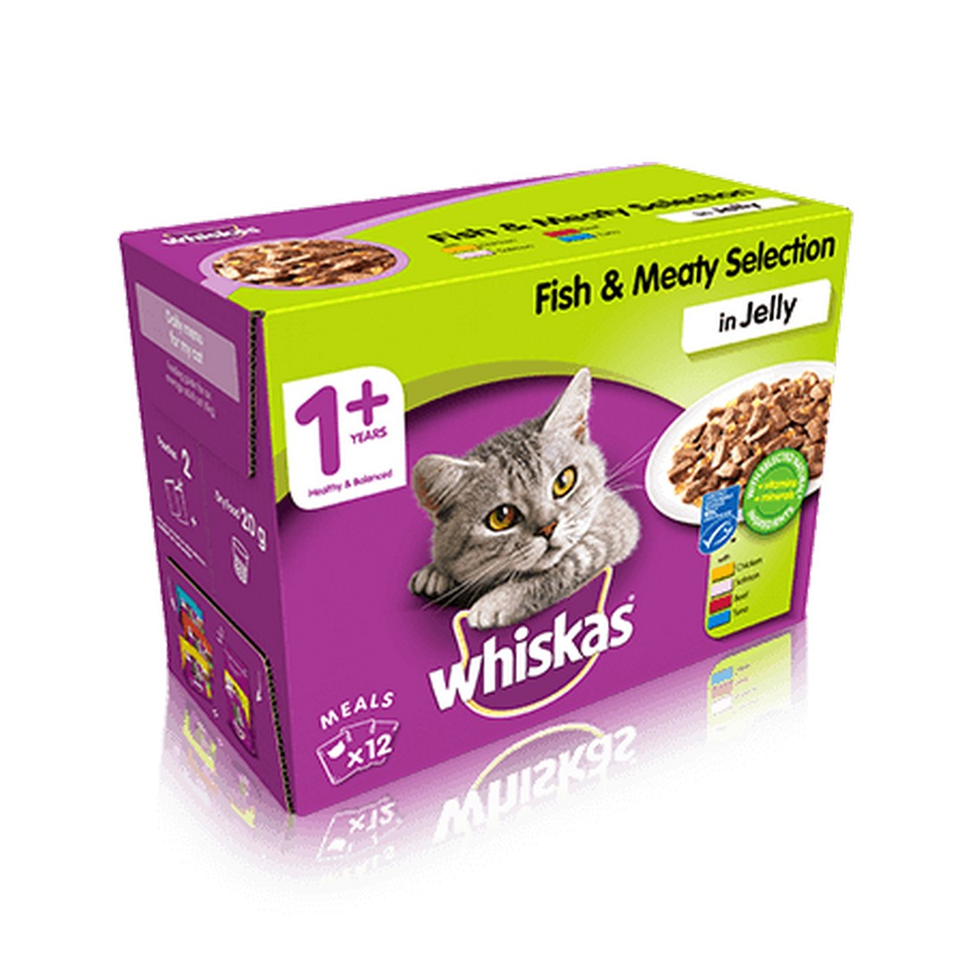 Whiskas 1+ Wet Cat Food - Fish & Meaty Selection in Jelly - 48 x 100g - PetMonkey