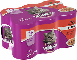 Whiskas 1+ Wet Cat Food - Meat Selection in Jelly - 24 x 390g - PetMonkey