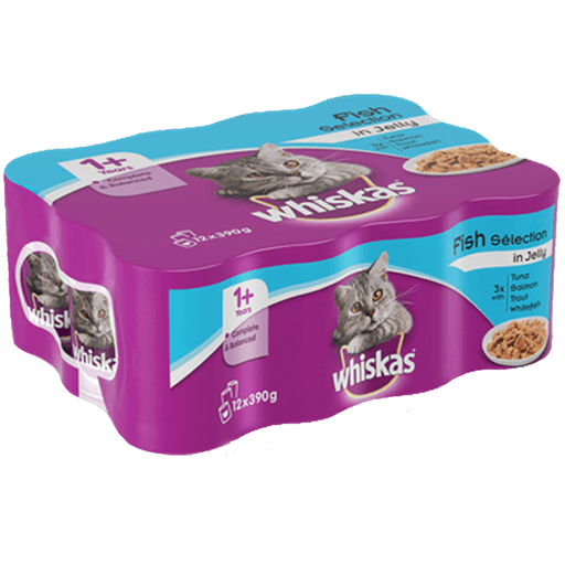 Whiskas 1+ Wet Cat Food - Salmon in Jelly - 12 x 390g - PetMonkey
