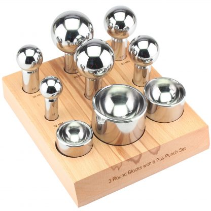Dapping 6-Punch and 3 Round Block Set, wooden stand