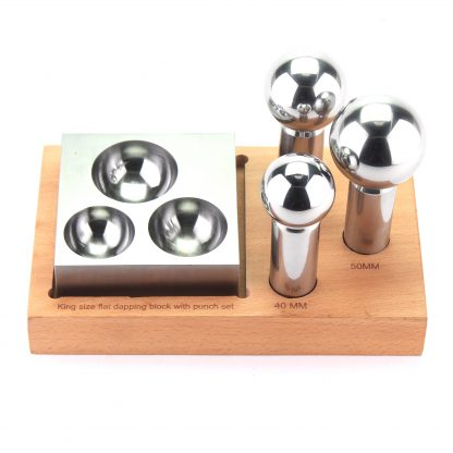 Dapping 3-Punch and Flat Block Set, wooden stand