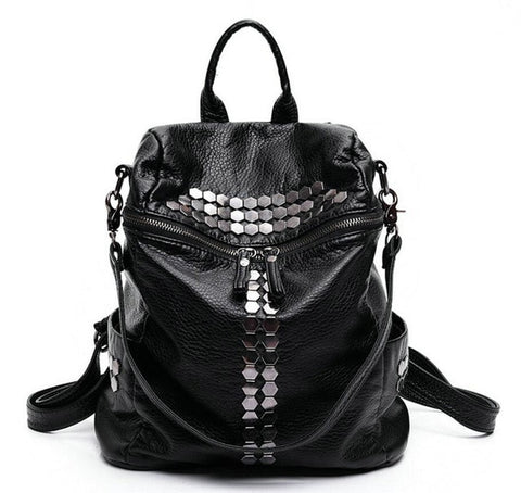 PU Leather Rivets Backpack