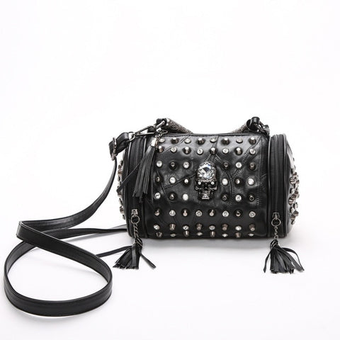 Black Genuine Leather Gothic Bag