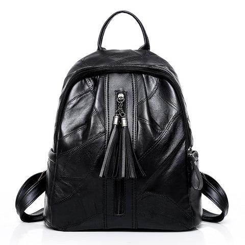 Genuine Leather Tassels Backpack