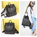 Multifunctional Soft PU Leather Backpack