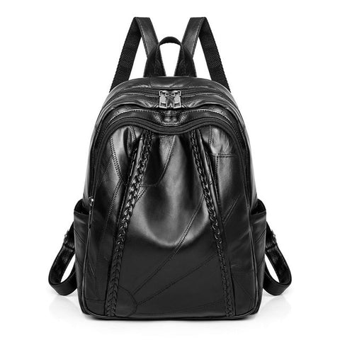 Genuine Leather Patchwork Backpack