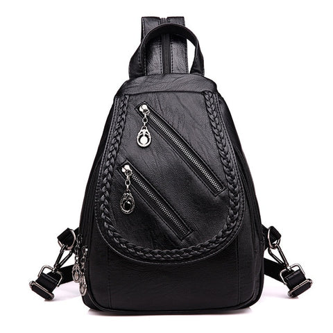 Double Zippered PU Leather Backpack