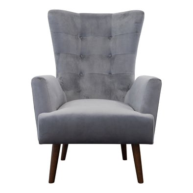 Sebastian Accent Chair – Grey Velvet - Warehouse Furniture Clearance