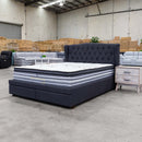 Amelia King Fabric Bed - Dark Grey - Warehouse Furniture Clearance