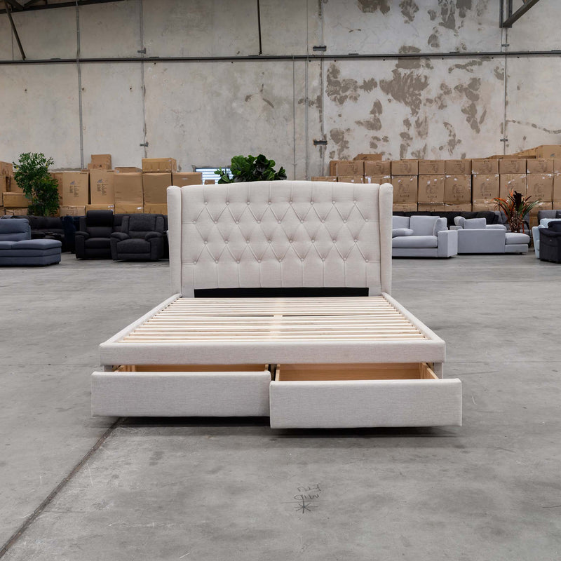 Amelia King Fabric Bed - Oat - Warehouse Furniture Clearance