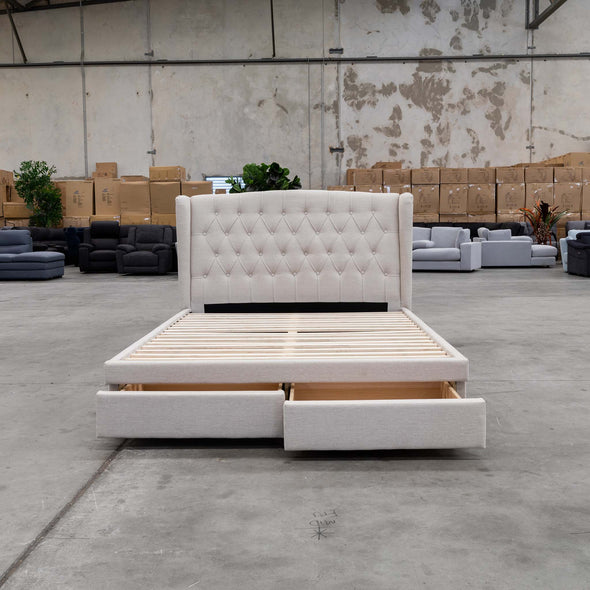 Amelia Queen Fabric Bed - Oat - Warehouse Furniture Clearance